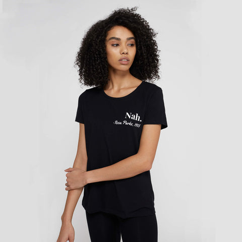 Feminist slogan t-shirt in black with 'Rosa Parks' quote on left chest, by Rani & Co. UK