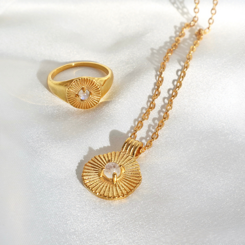 Sun Goddess Moonstone Gold Pendant Necklace & Gold Ring-Rani & Co.