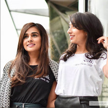 Influencer @anjandpri in Rosa Parks feminist slogan black tshirt, Rani & Co.