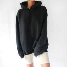 Black oversized plain hoodie for women. Available in size S,M,L.