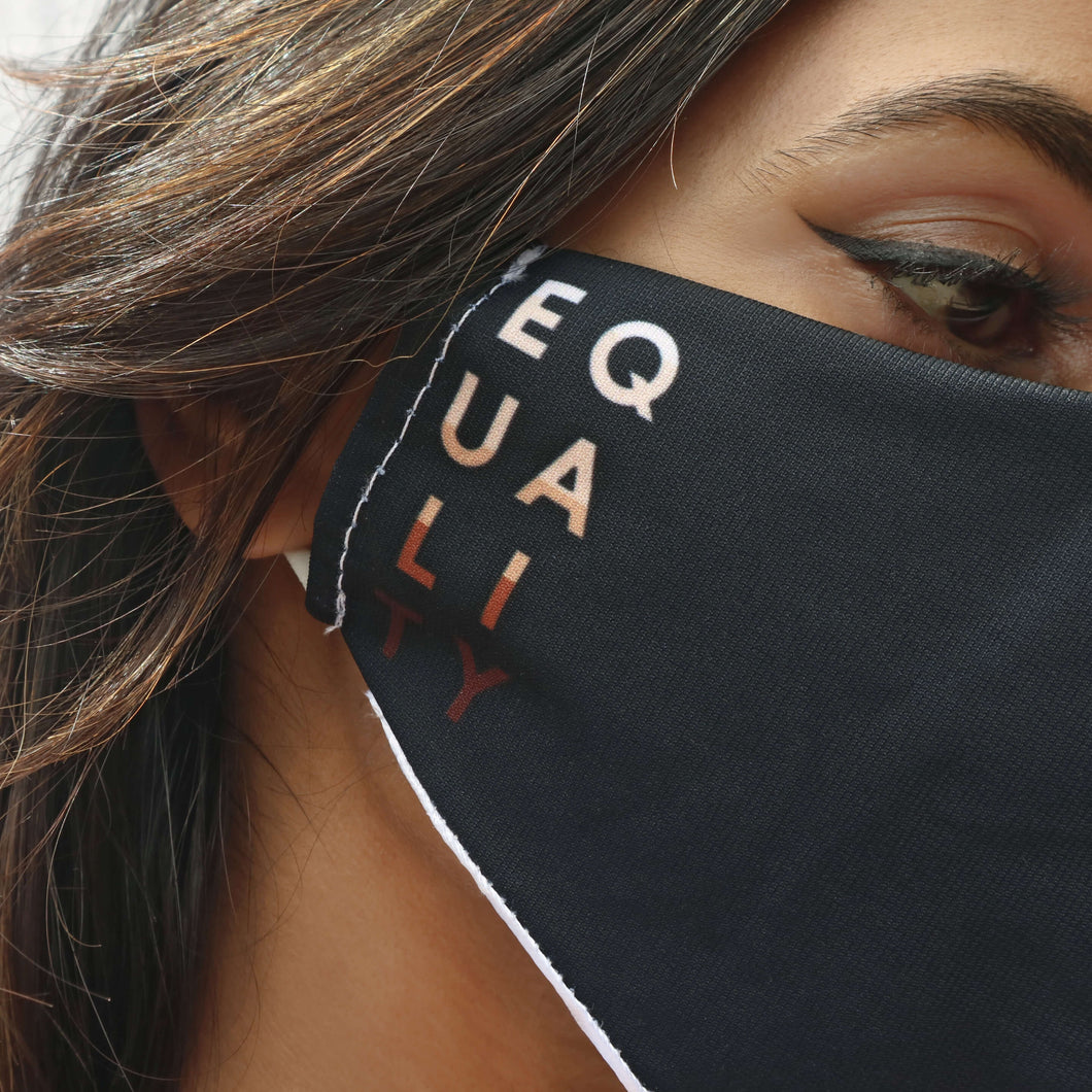 Black face mask with 'equality' slogan. Made from dekotex cloth and a satin inner lining. Rani & Co.