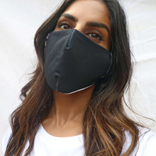 'Equality' slogan black adult face mask. Made from dekotex cloth and a satin inner lining. Rani & Co.