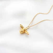 Dainty gold honey bumble bee pendant necklace, Rani & Co. jewellery