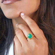 Green onyx gemstone gold ring with hammered gold band-Rani & Co.