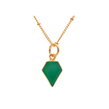 Green Onyx gemstone geometric gold necklace with satellite chain-Rani & Co. jewellery