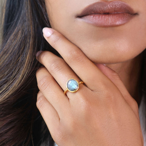 Irregular Labradorite Ring