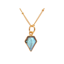 Labradorite gemstone geometric gold necklace with satellite chain-Rani & Co. jewellery