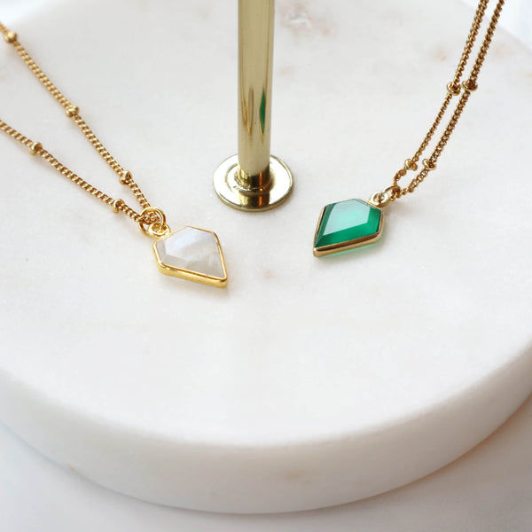Moonstone & Green Onyx Gemstone Necklace, Gold Satellite Chain-Rani & Co.