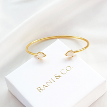 Gold cuff bracelet bangle for women with 2 pear-shape moonstone gems-Rani & Co. jewellery