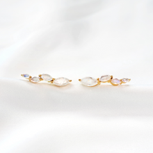Moonstone gold climber crawler earrings-Rani & Co. jewellery uk