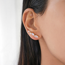Moonstone gold climber crawler stud earrings-Rani & Co. jewellery uk