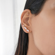 Statement Moonstone gold climber crawler earrings-Rani & Co. jewellery uk