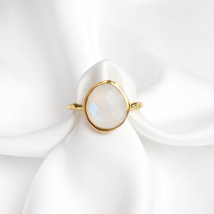 Rainbow moonstone gold ring with an 18k gold-plated hammered band-Rani & Co.
