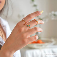 Influencer @nikitachandni in Green Onyx gemstone teardrop dainty gold ring, Rani & Co.