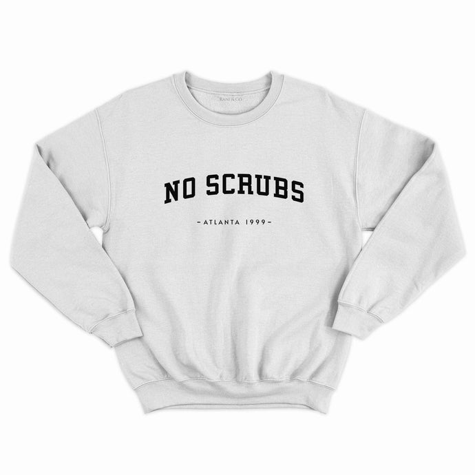 No Scrubs slogan grey oversized sweatshirt, inspired by 90s R&B girl group TLC. Rani & Co Clothing.