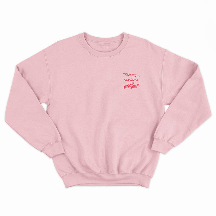 Feminist slogan sweatshirt baby pink with Maya Angelou Sassy quote embroidered in red.