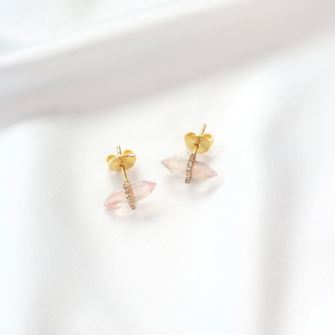 Rose quartz gemstone gold stud earrings with cubic zirconia stones-Rani & Co. jewellery uk
