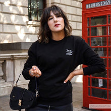 Maya Angelou feminist slogan black sweatshirt worn by influencer @takeheartuk-Rani & Co.
