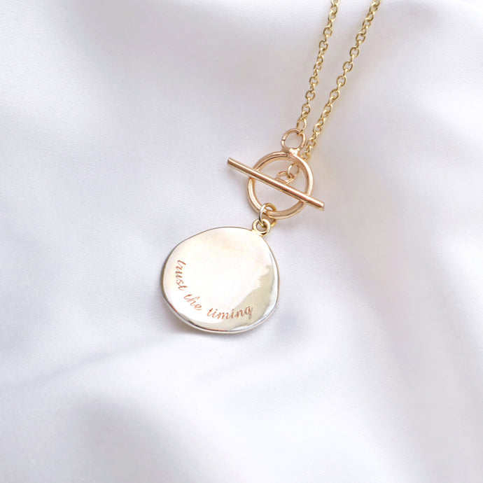 Trust The Timing Gold Disc Necklace