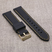 Black with Gold Stitching StrapoSTITCH Silicone 20/22mm