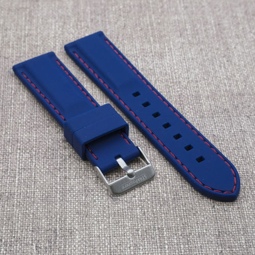 Cobalt Blue with Red Stitching StrapoSTITCH Silicone 20/22mm