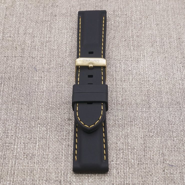 StrapoSTITCH Black with Gold Stitching