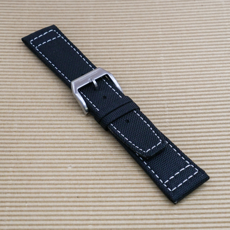 Black with White Stitching StrapoSAIL Canvas 20/22mm
