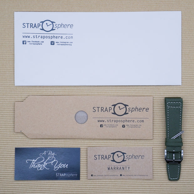 Pine Green with Cream Stitching StrapoSAIL Canvas 20/22mm