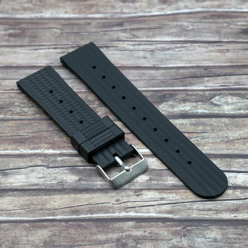 Carbon Black StrapoWAFFLE Rubber 22mm