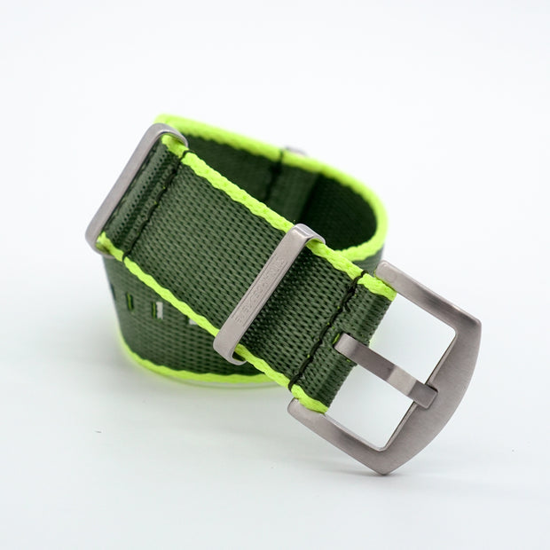 Olive Green with Neon Yellow Edge StrapoBELT Nato 20/22mm