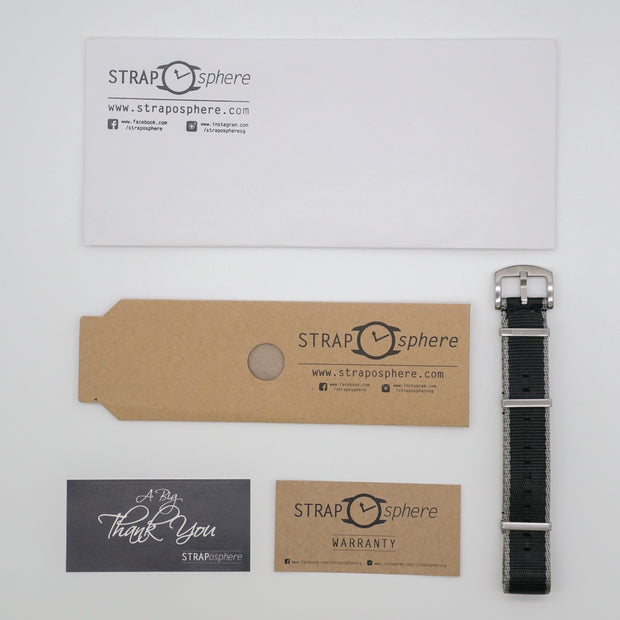 StrapoBELT Nato Black with Grey Edge