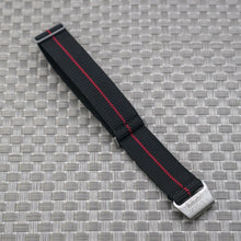 Black w/ Red Pin Stripe StrapoMARINE Elastic Nylon 20/22mm