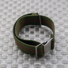 Green with Red Pin Stripe StrapoMARINE Elastic Nylon 20/22mm