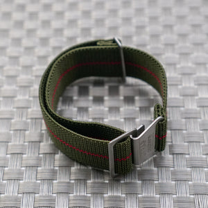 Green w/ Red Pin Stripe StrapoMARINE Elastic Nylon 20/22mm