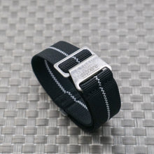 V2: Black w/ White Pin Stripe StrapoMARINE Elastic Nylon 20/22mm