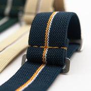 StrapoMARINE Navy with Orange & White Pin Stripe
