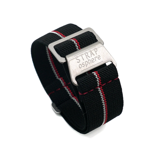 StrapoMARINE Black with Red & White Pin Stripe