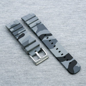 //SPECIAL EDITION// Grey Camouflage The SKX StrapoFIT Curved End Silicone