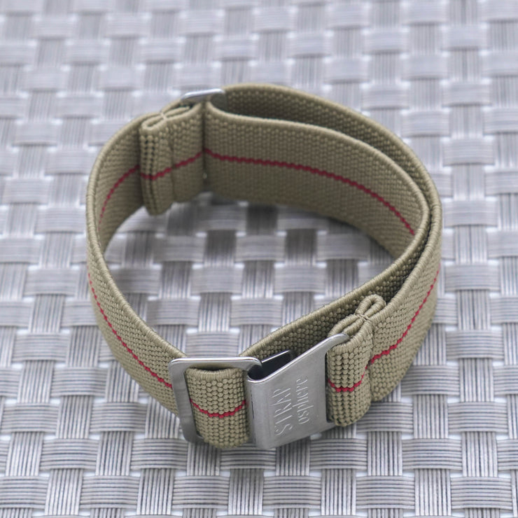 Sand w/ Red Pin Stripe StrapoMARINE Elastic Nylon 20/22mm