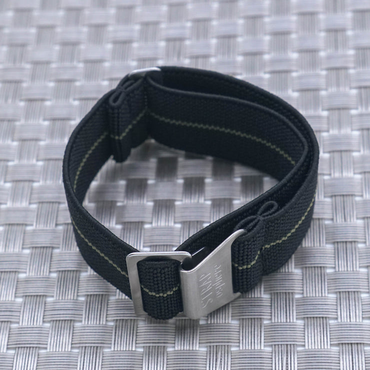 Black w/ Olive Pin Stripe StrapoMARINE Elastic Nylon 20/22mm