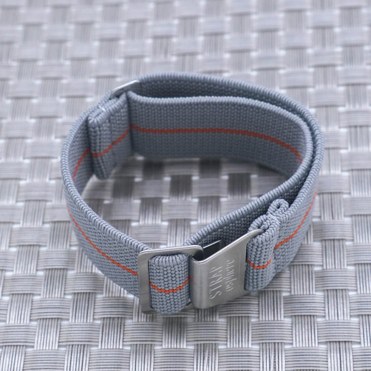 StrapoMARINE Light Grey with Orange Pin Stripe