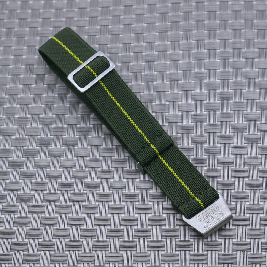 V2: Green w/ Neon Yellow Pin Stripe StrapoMARINE Elastic Nylon 20/22mm