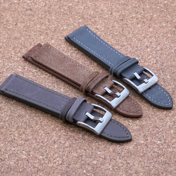 StrapoLEATHER VINTAGE 3.0 Steel Grey