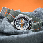 StrapoMARINE Grey with Orange & White Pin Stripe