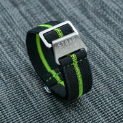 StrapoMARINE Black with Neon Lime Pin Stripe