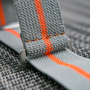 StrapoMARINE Light Grey with Neon Orange Pin Stripe