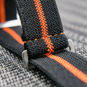 StrapoMARINE Black with Neon Orange Pin Stripe