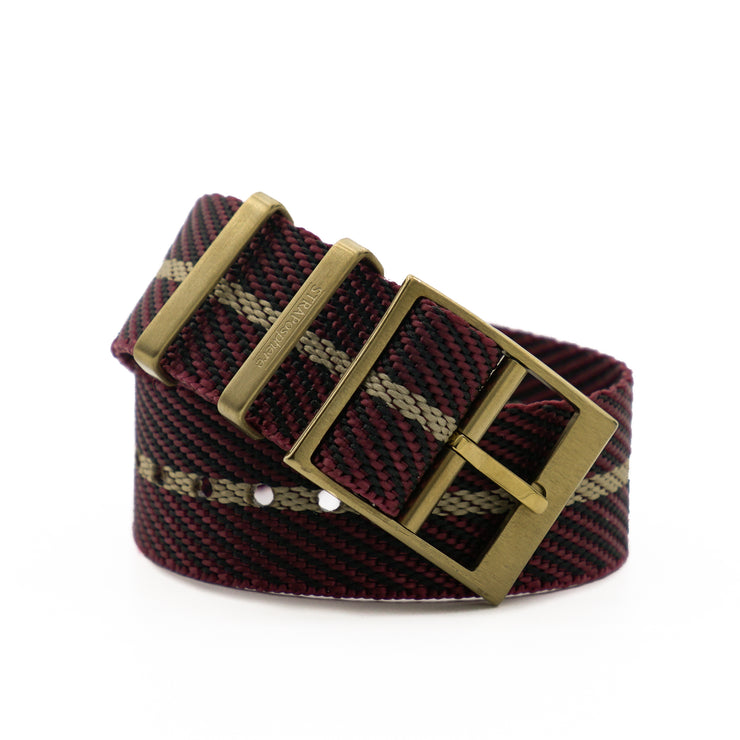 Matte Gold StrapoBELT 2.0 Adjustable Nato Burgundy/Gobi Sand