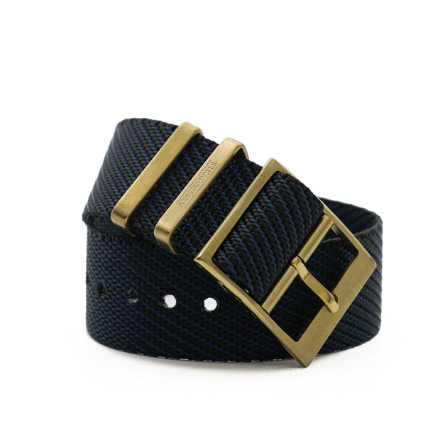Matte Gold StrapoBELT 2.0 Adjustable Nato Bluish Black
