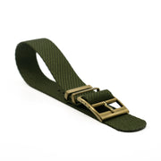 Matte Gold StrapoBELT 2.0 Adjustable Nato Hunter Green